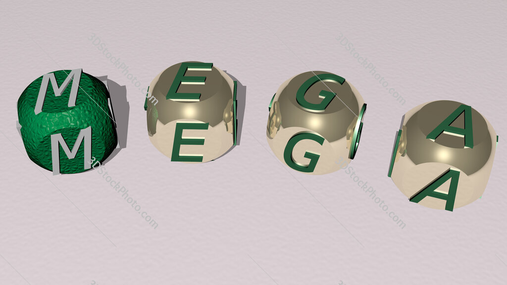 mega curved text of cubic dice letters
