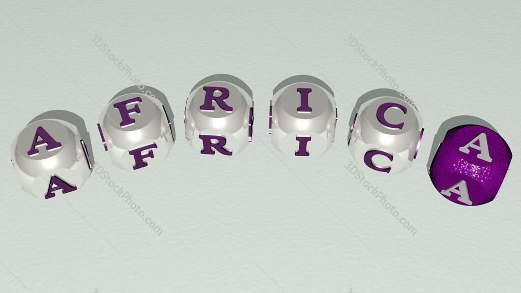 africa curved text of cubic dice letters