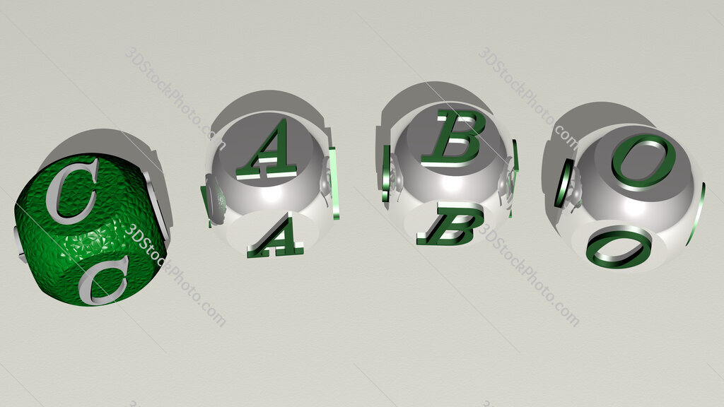 cabo curved text of cubic dice letters