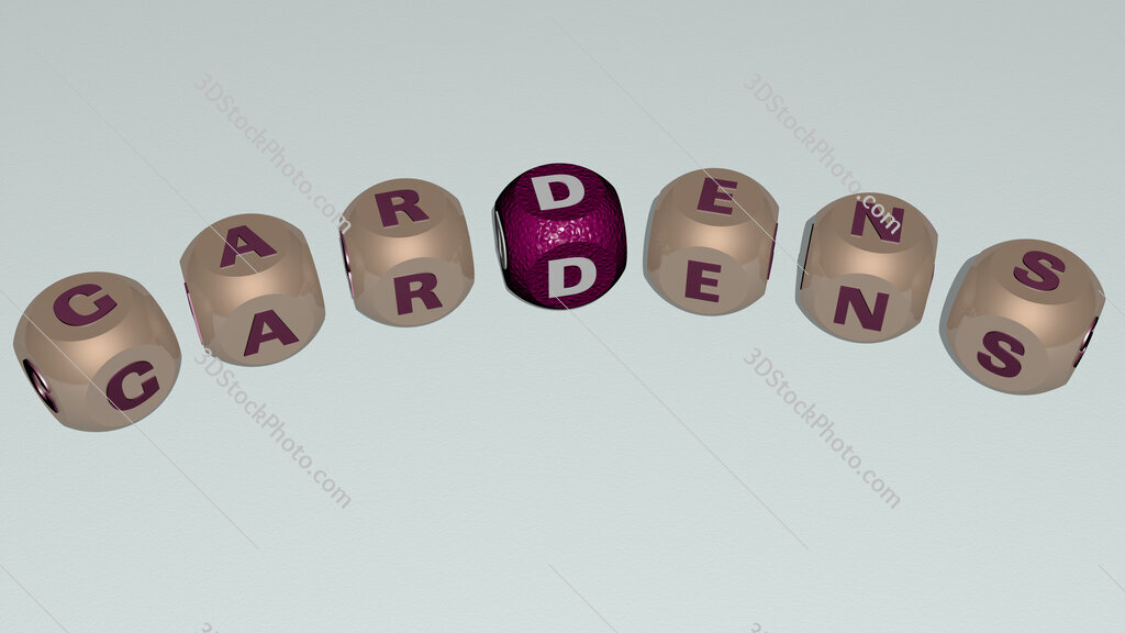 gardens curved text of cubic dice letters