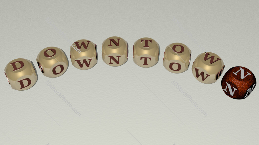 downtown curved text of cubic dice letters