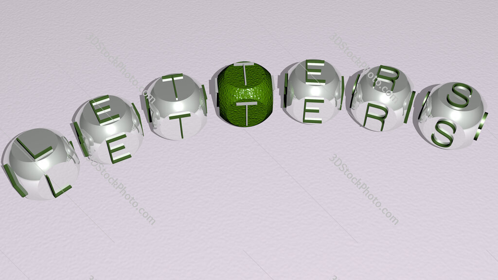 letters curved text of cubic dice letters