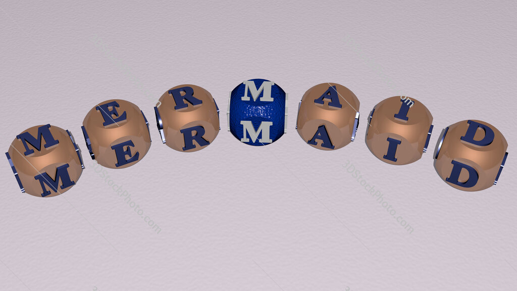 Mermaid curved text of cubic dice letters