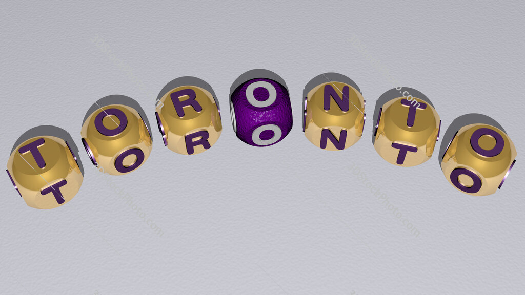 toronto curved text of cubic dice letters
