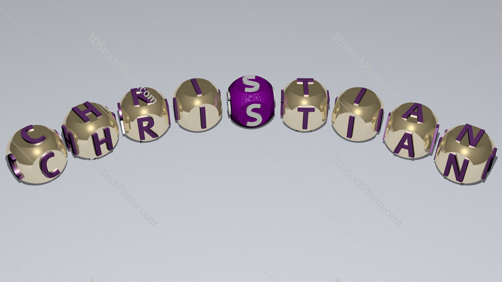 Christian curved text of cubic dice letters