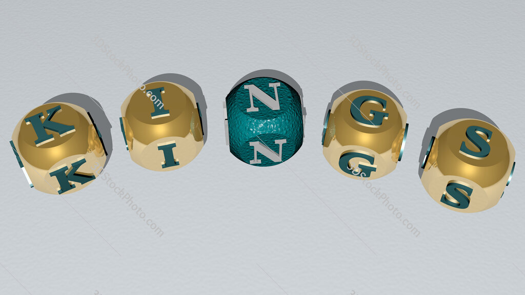 Kings curved text of cubic dice letters
