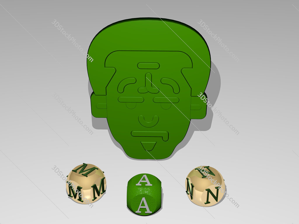 man round text of cubic letters around 3D icon