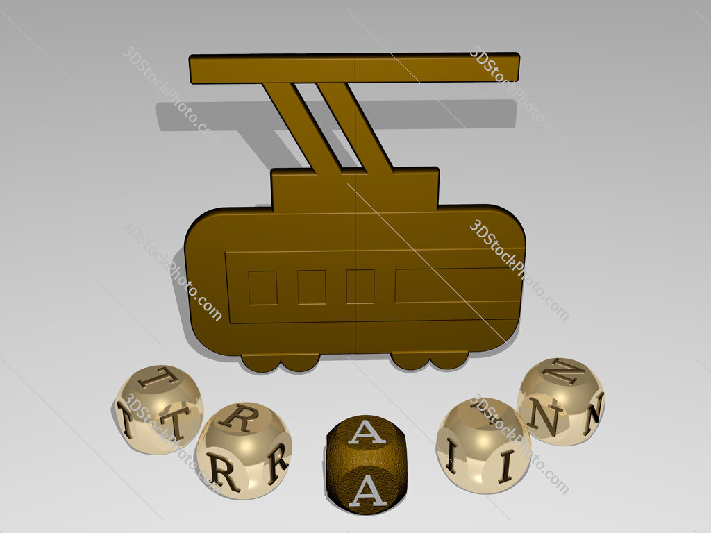 train round text of cubic letters around 3D icon