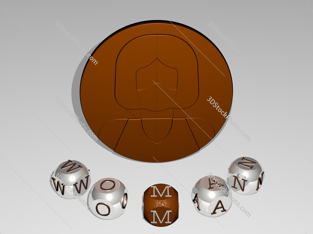 woman round text of cubic letters around 3D icon
