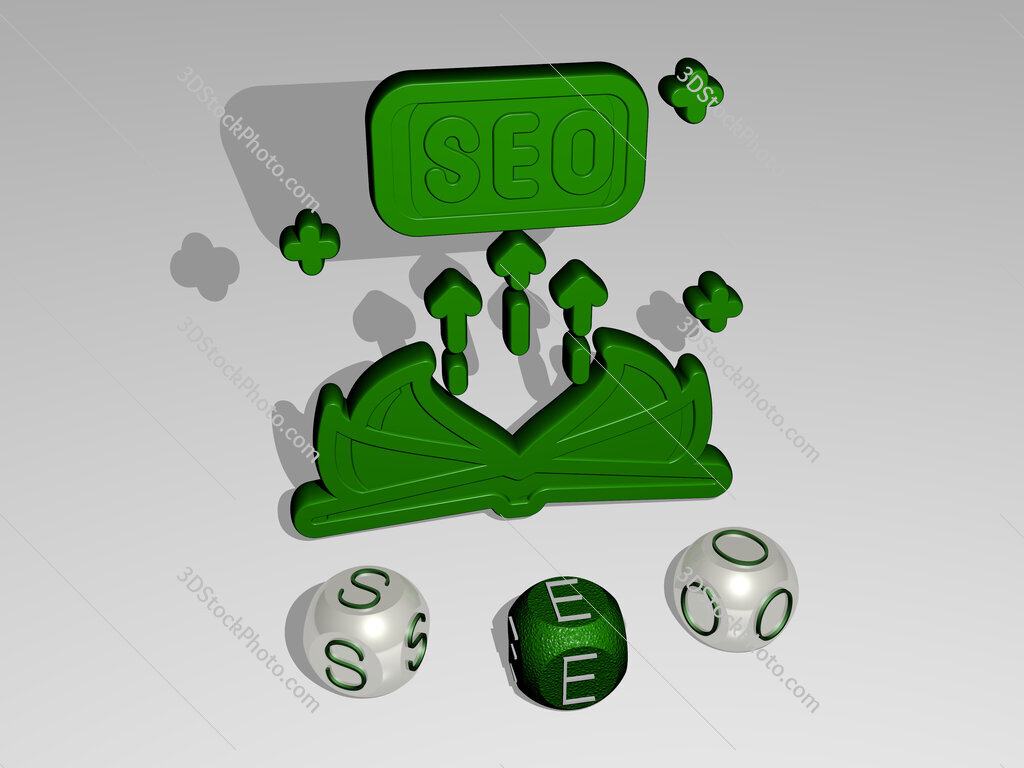 seo round text of cubic letters around 3D icon