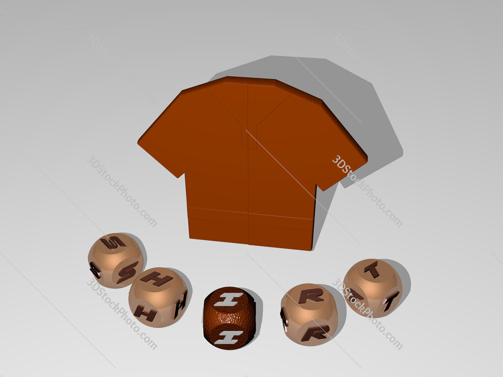 shirt round text of cubic letters around 3D icon