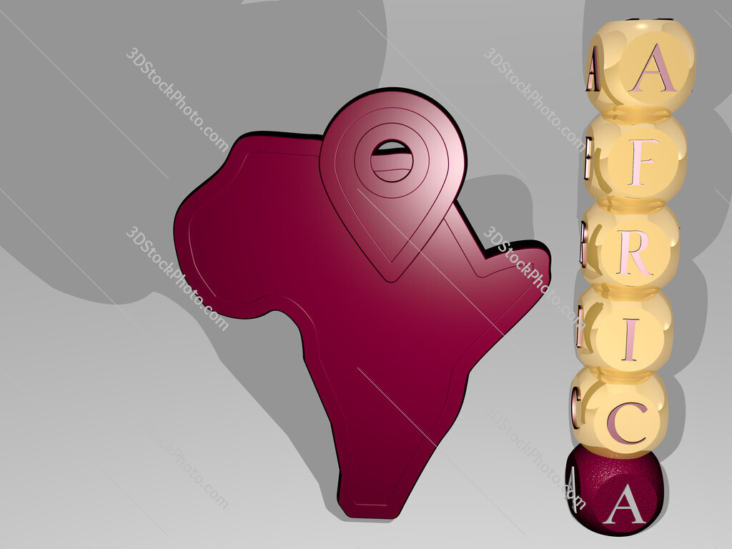 africa 3D icon beside the vertical text of individual letters