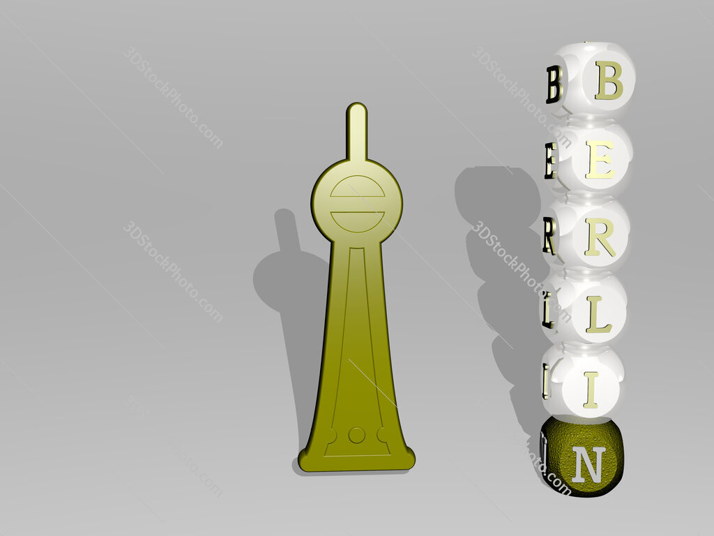 berlin 3D icon beside the vertical text of individual letters