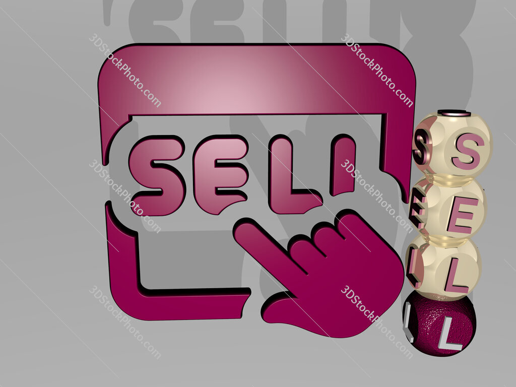 sell 3D icon beside the vertical text of individual letters