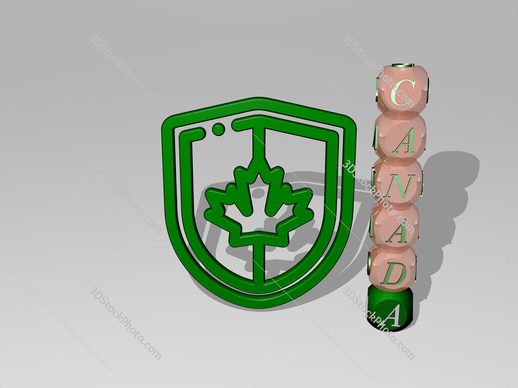 canada 3D icon beside the vertical text of individual letters