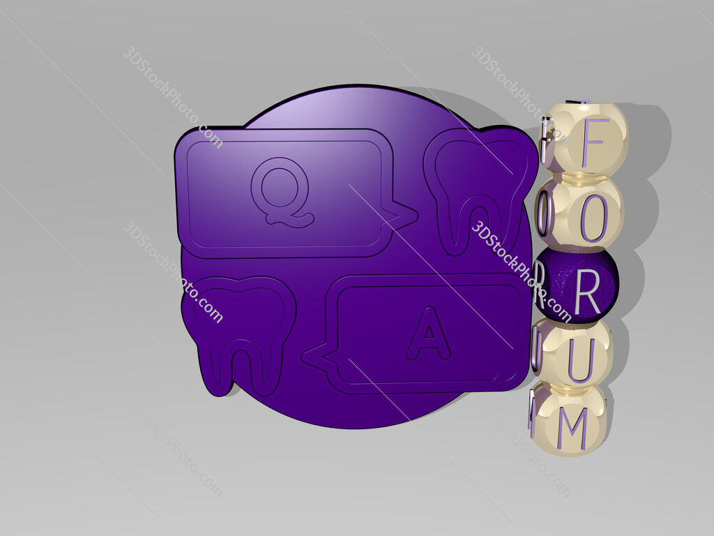 Forum 3D icon beside the vertical text of individual letters