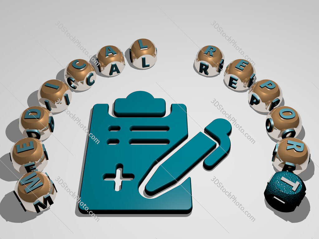 medical report 3D icon surrounded by the text of cubic letters