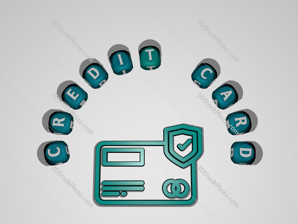 credit-card icon surrounded by the text of individual letters