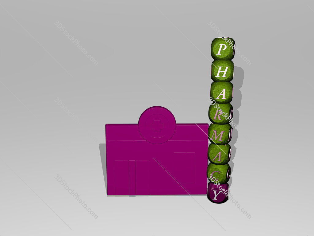 pharmacy text beside the 3D icon