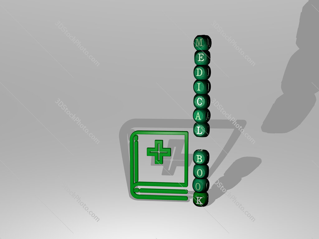 medical book text beside the 3D icon