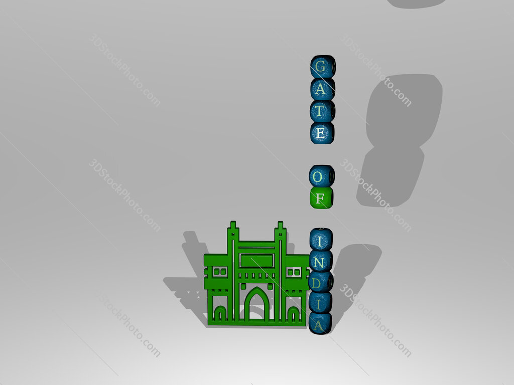gate of india text beside the 3D icon