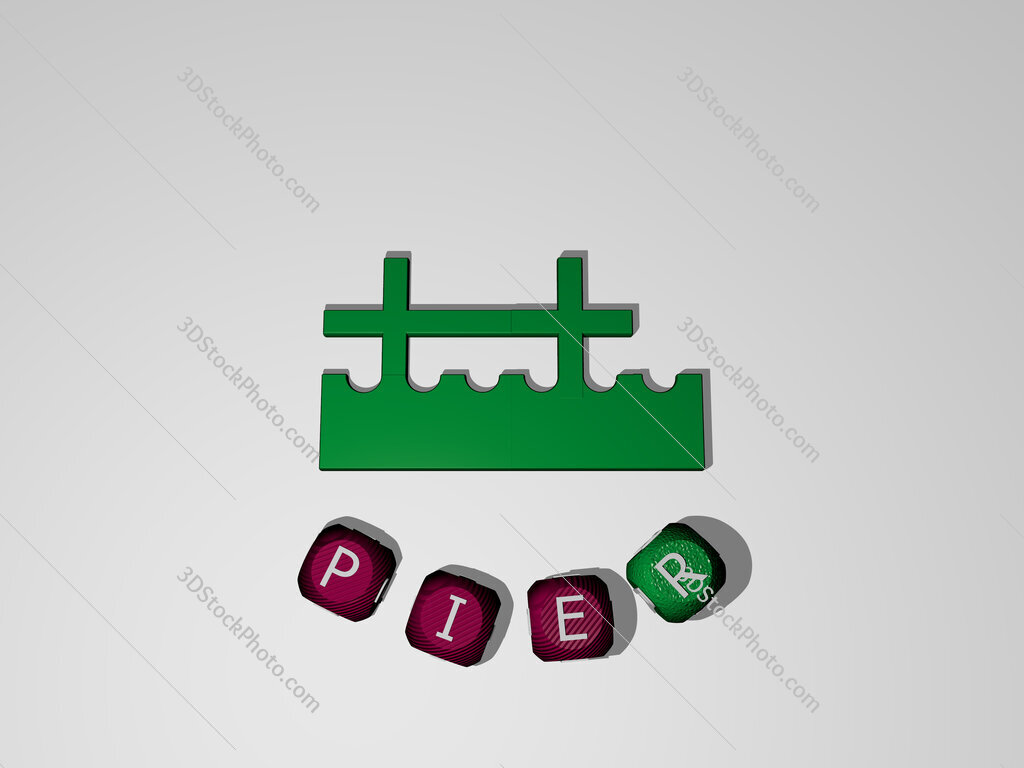 pier text around the 3D icon