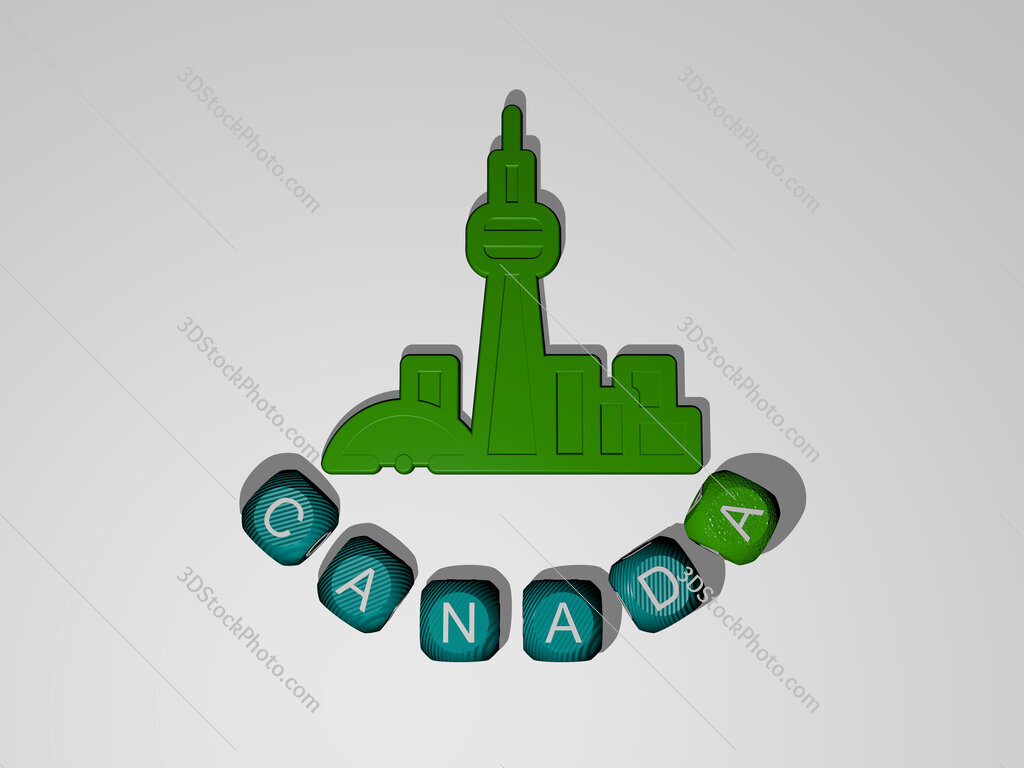 canada text around the 3D icon
