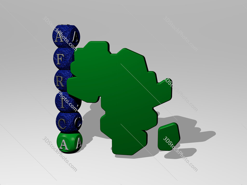 africa 3D icon and dice letter text