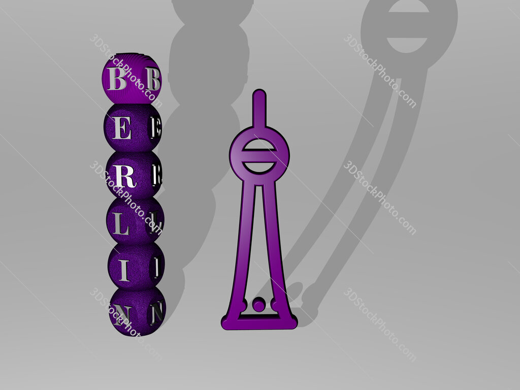 berlin 3D icon and dice letter text