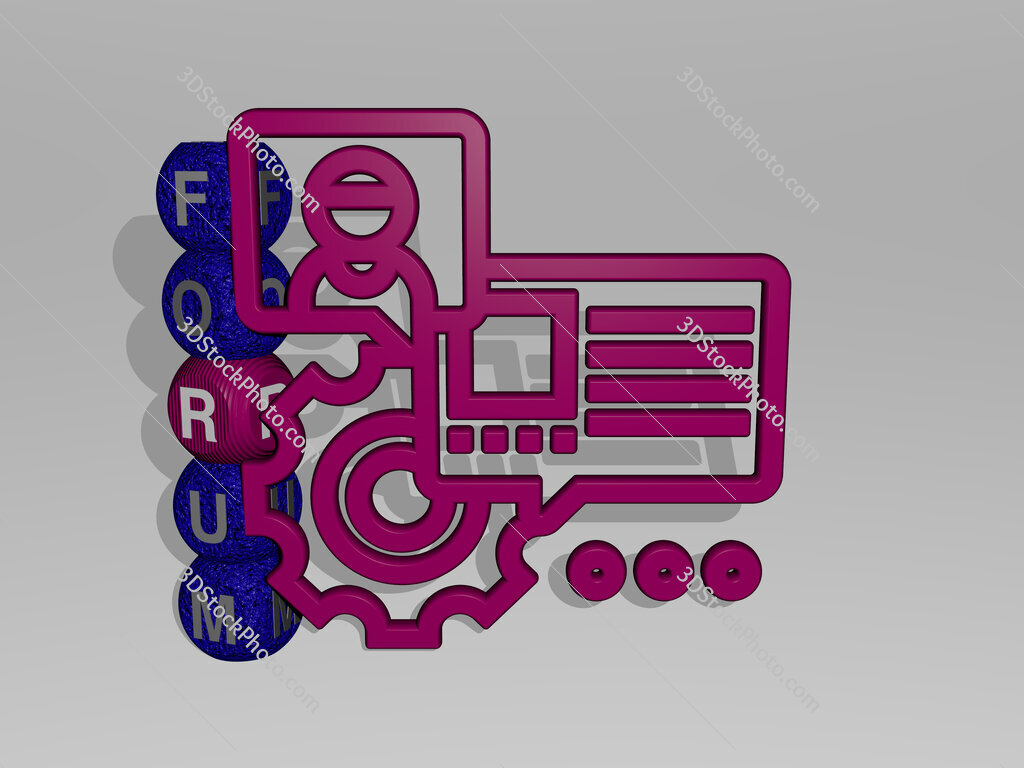 Forum 3D icon and dice letter text