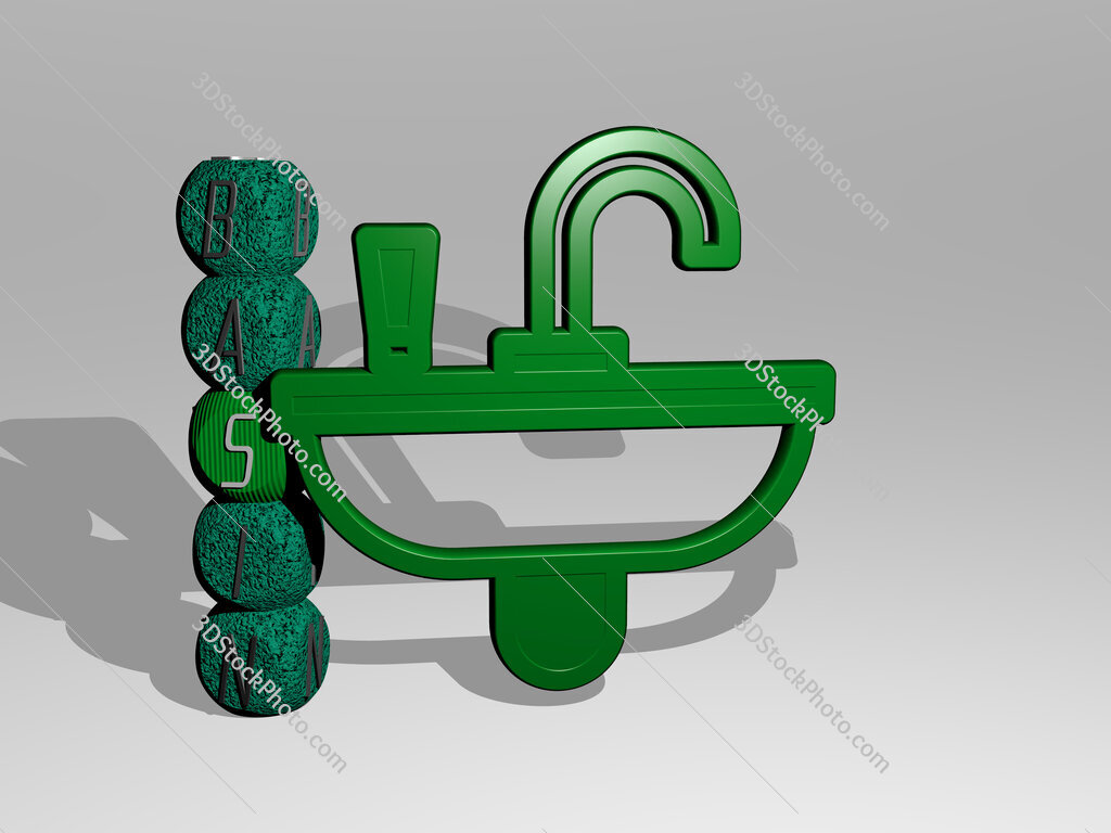 Basin 3D icon and dice letter text