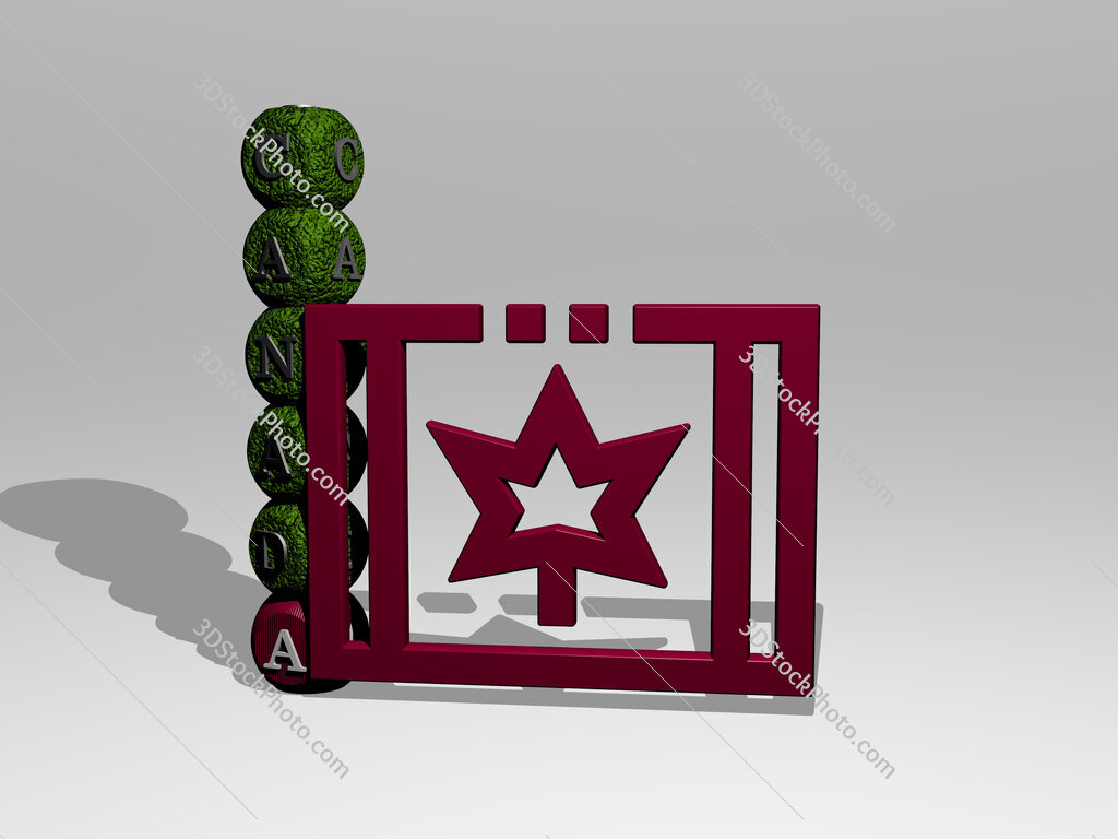 canada 3D icon and dice letter text