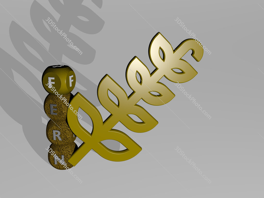 FERN 3D icon and dice letter text