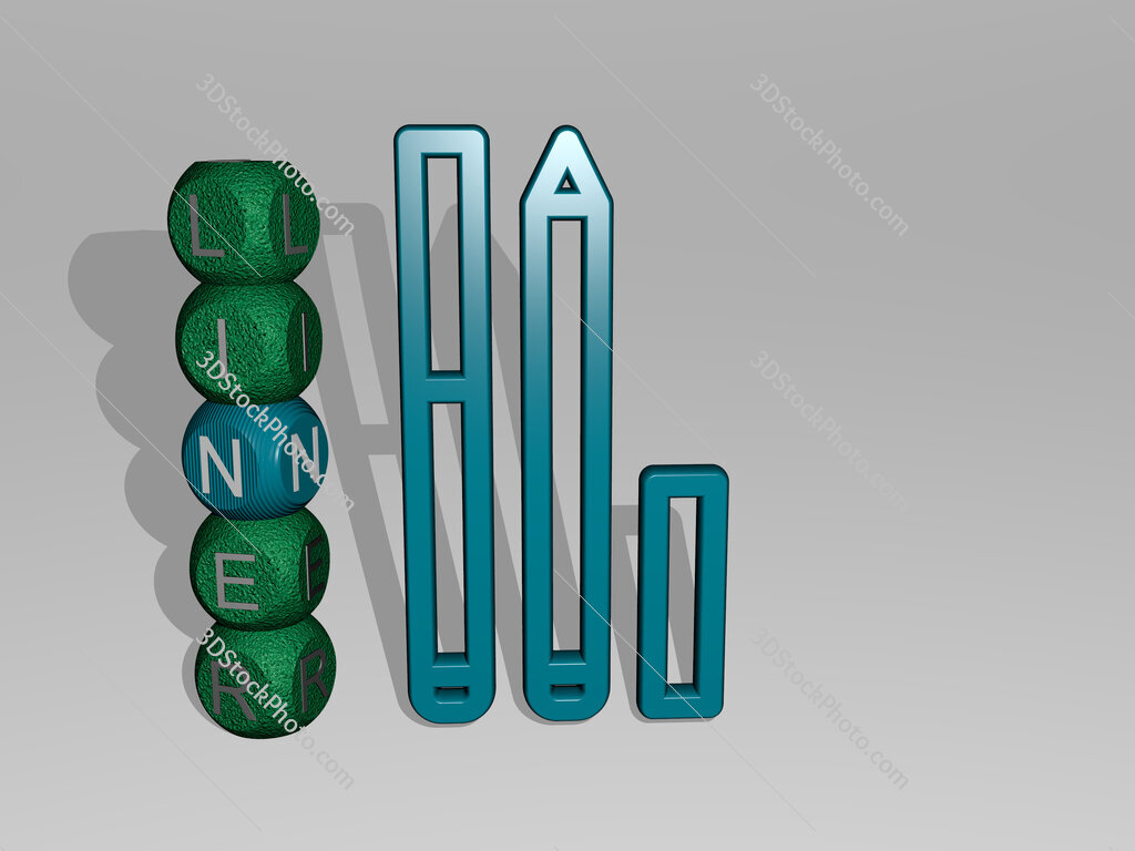 liner 3D icon and dice letter text
