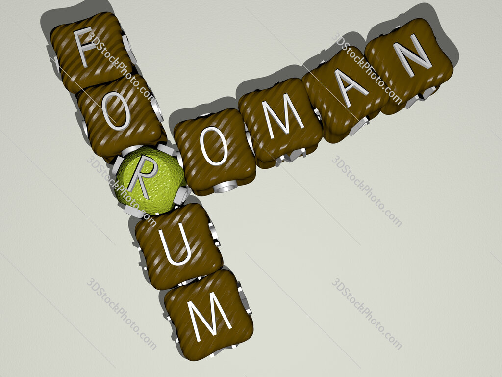 roman forum crossword of colorful cubic letters