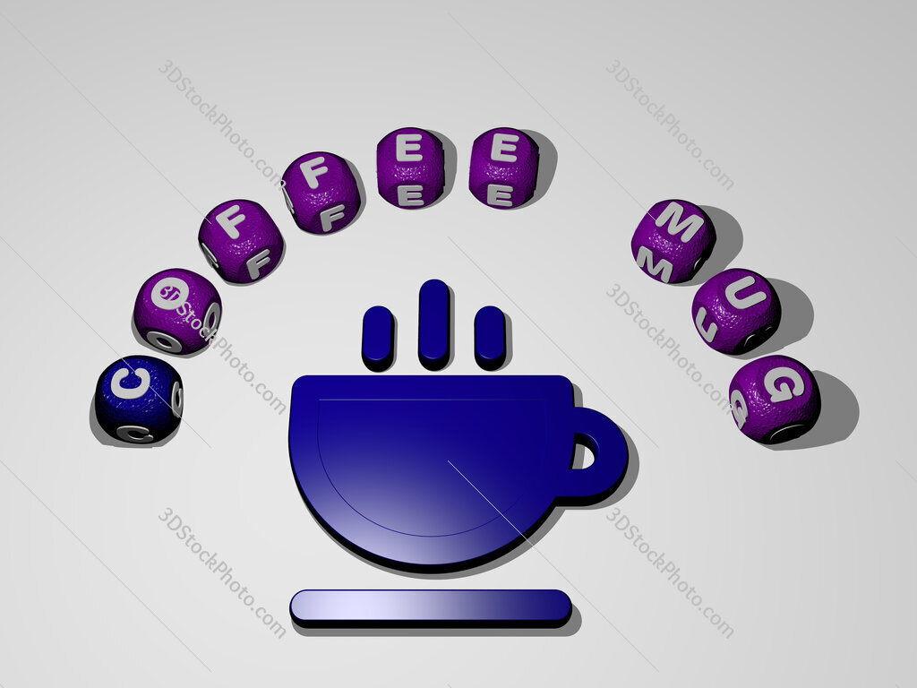 coffee-mug icon surrounded by the text of individual letters