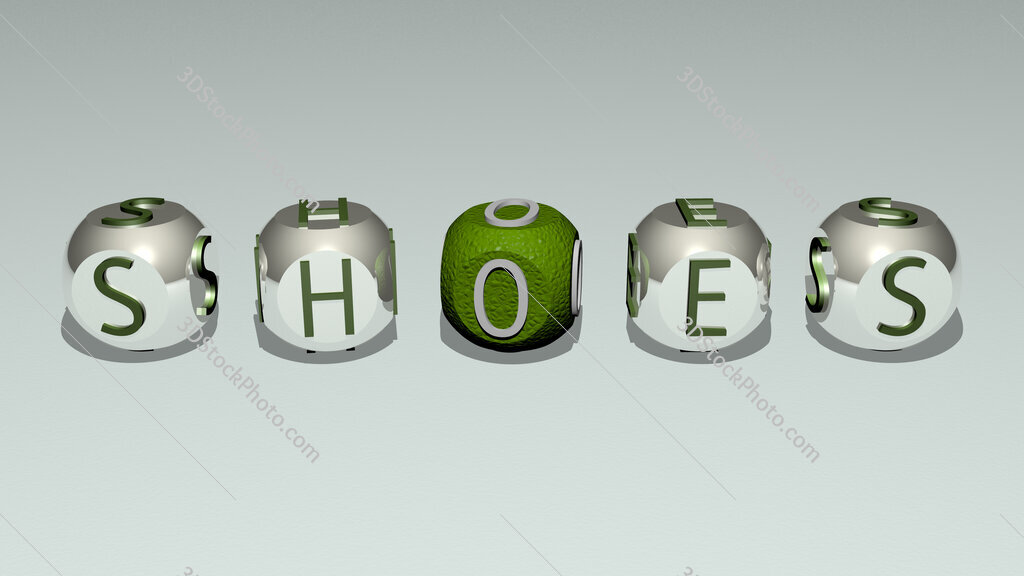 shoes text of cubic individual letters