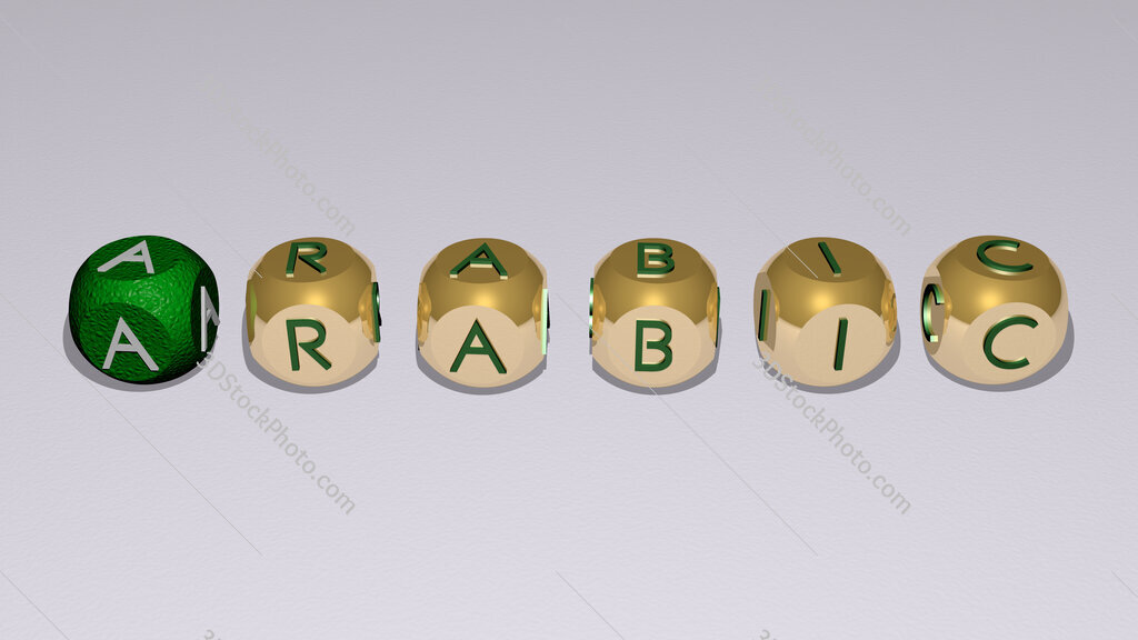 arabic text of cubic individual letters