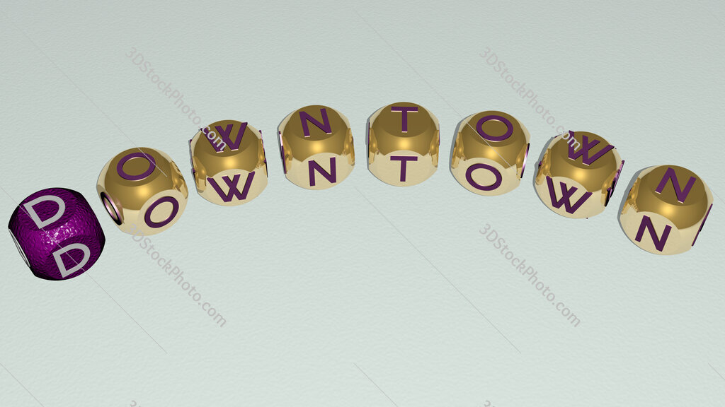 downtown text of dice letters with curvature