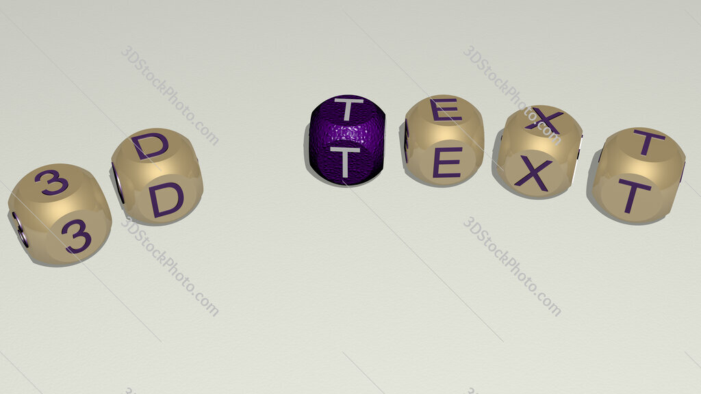 3d text text of dice letters with curvature