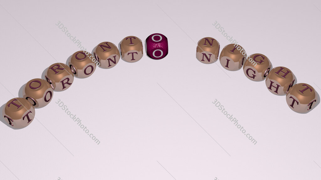 toronto night text of dice letters with curvature