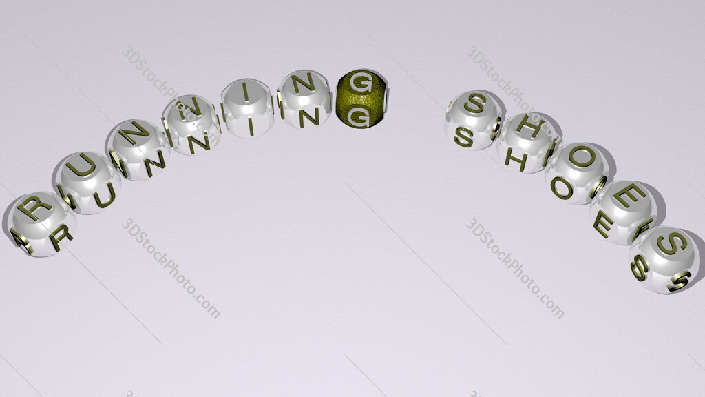 running shoes text of dice letters with curvature