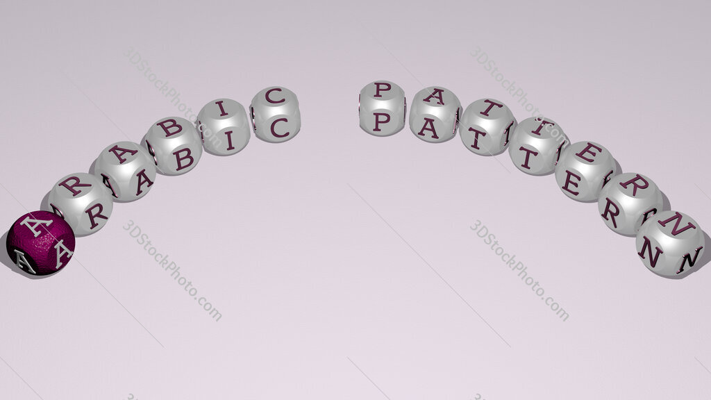 arabic pattern text of dice letters with curvature