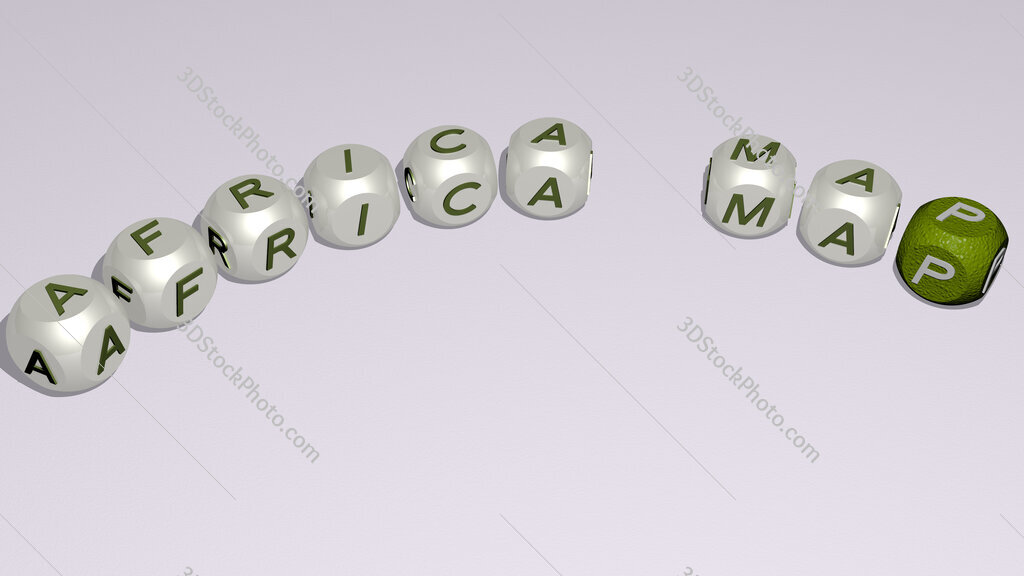 africa map text of dice letters with curvature