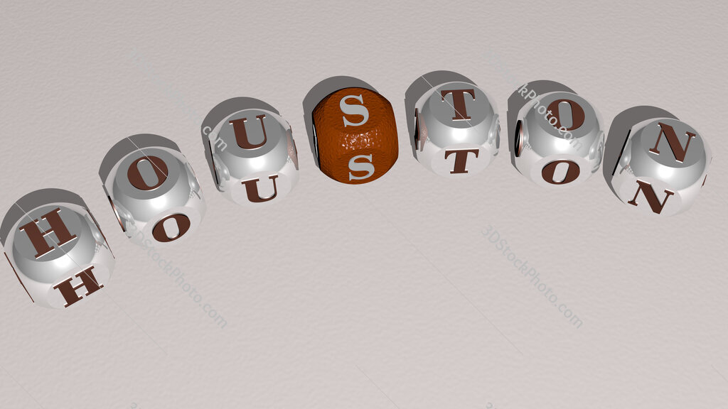 Houston text of dice letters with curvature