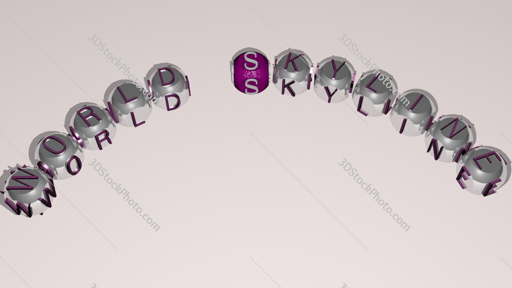 world skyline text of dice letters with curvature