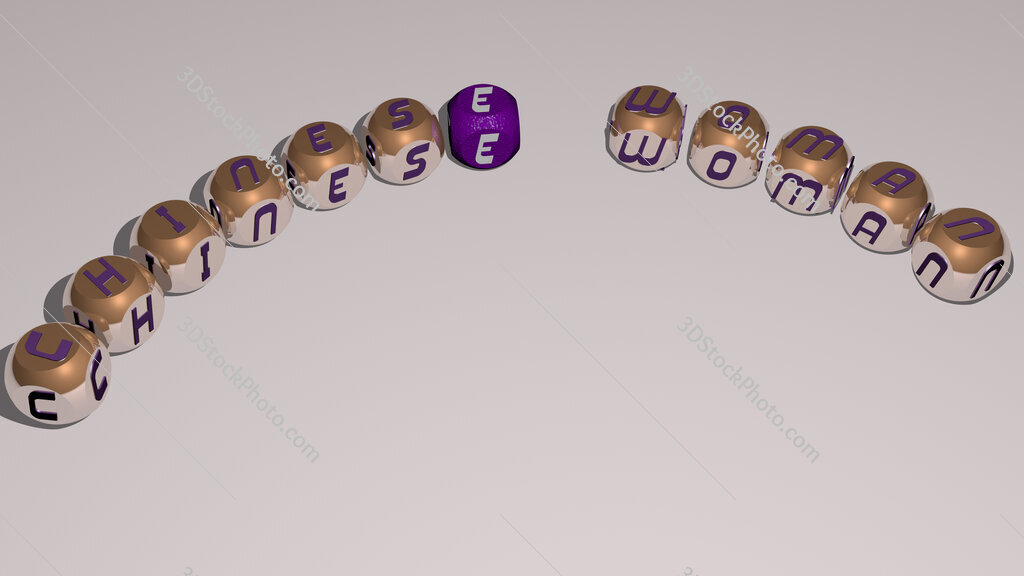 chinese woman text of dice letters with curvature