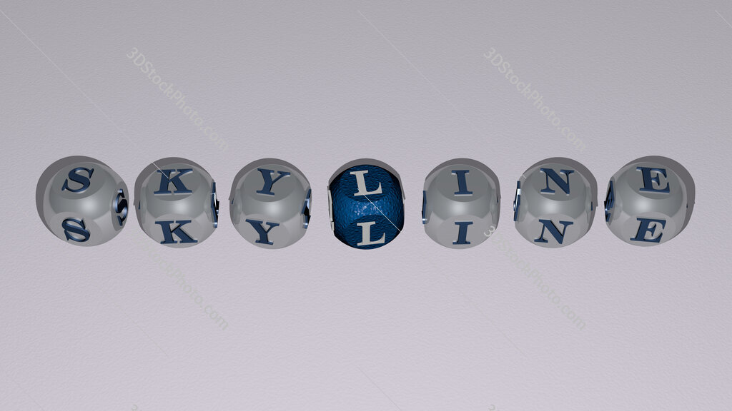 skyline text by cubic dice letters