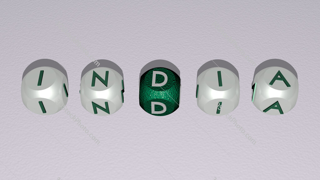 india text by cubic dice letters