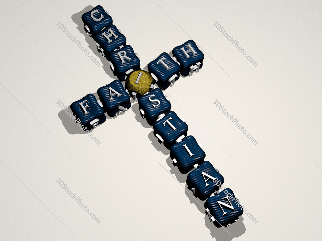 faith christian crossword of colorful cubic letters